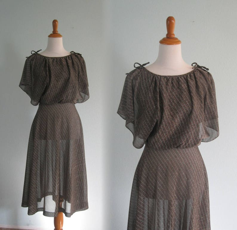 70s Glitter Dress Vintage Silver and Gold Striped Disco  dbfbcd5d5afd