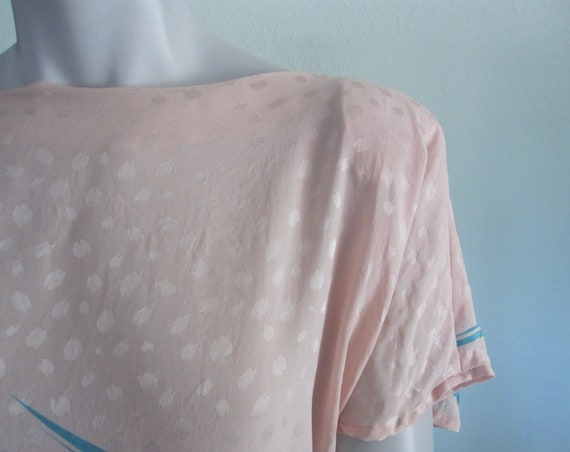 Flora Kung Dress - Pretty 80s Pastel Silk Dress -… - image 4