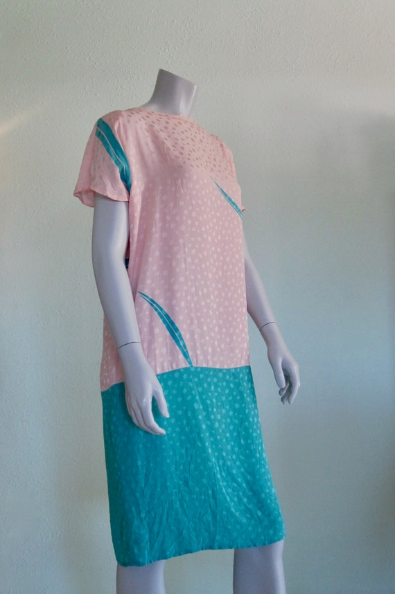 Flora Kung Dress - Pretty 80s Pastel Silk Dress -… - image 3