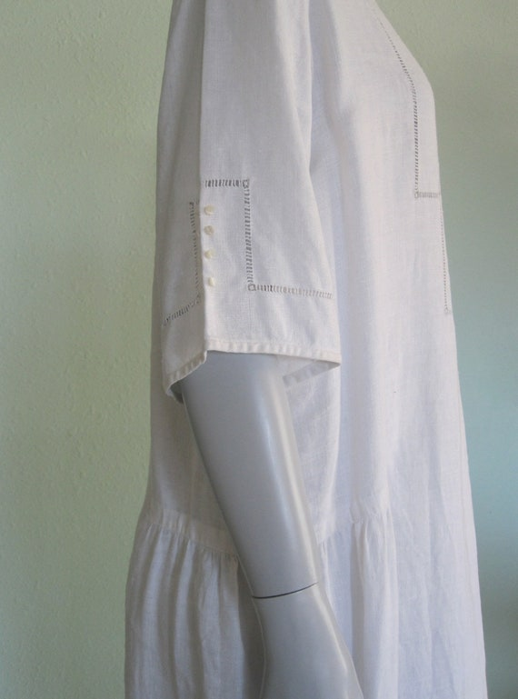 20s Linen Dress - Vintage White Linen Dress - Swe… - image 6