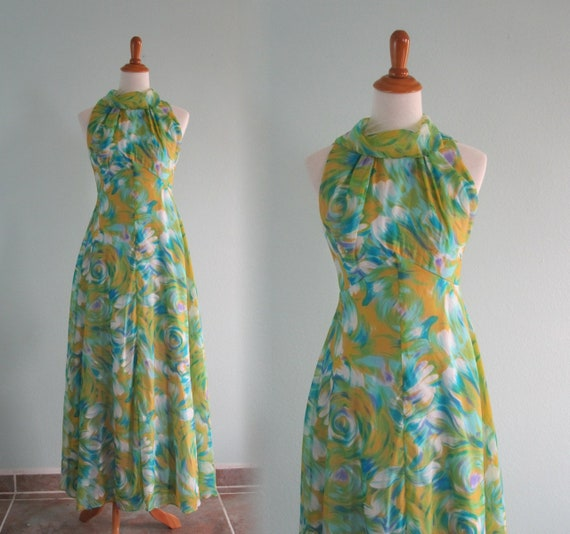 fb5685af69 70s Halter Dress Vintage Watercolor Chiffon Maxi Dress