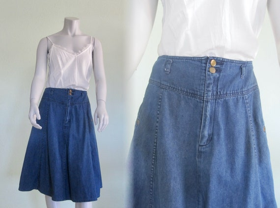 80s Denim Skirt - Vintage Jean Skirt by French Nav