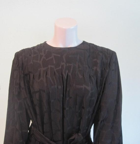 Pauline Trigere Dress - Gorgeous 80s Black Silk S… - image 3