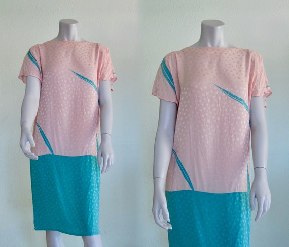 Flora Kung Dress - Pretty 80s Pastel Silk Dress -… - image 1