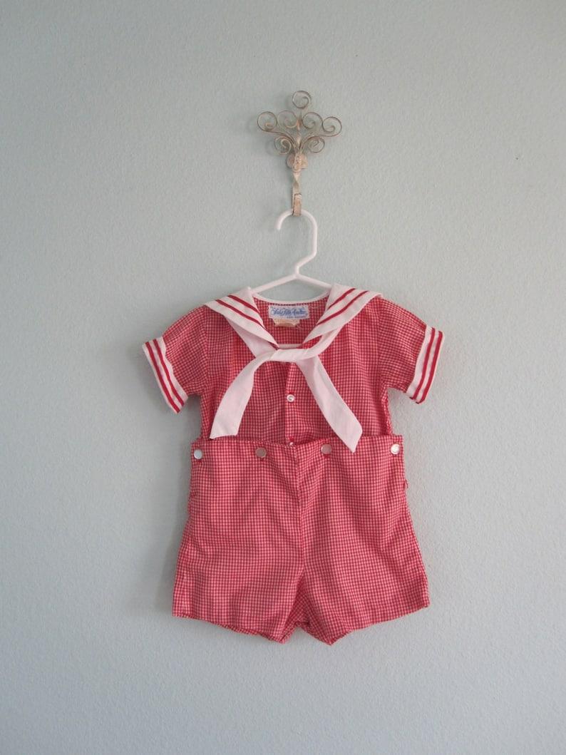 184997682d8e Vintage Baby Sailor Suit Cutest 70s Red Gingham Baby Sunsuit