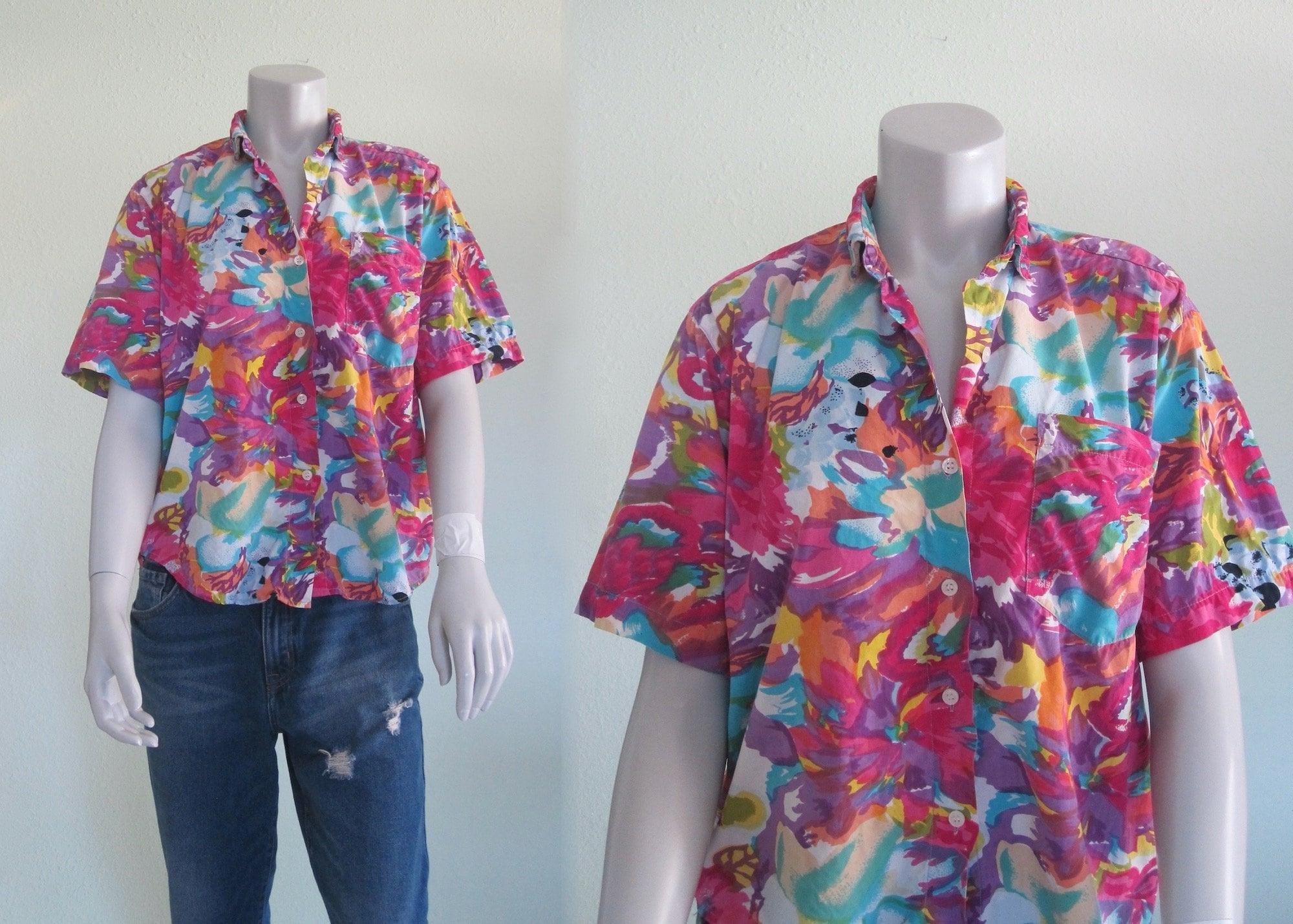 80s Tops, Shirts, T-shirts, Blouse   90s T-shirts 80S Cotton Shirt - Vintage Paint Splatter Print Camp By Andrew Sports 1980S S M $34.00 AT vintagedancer.com