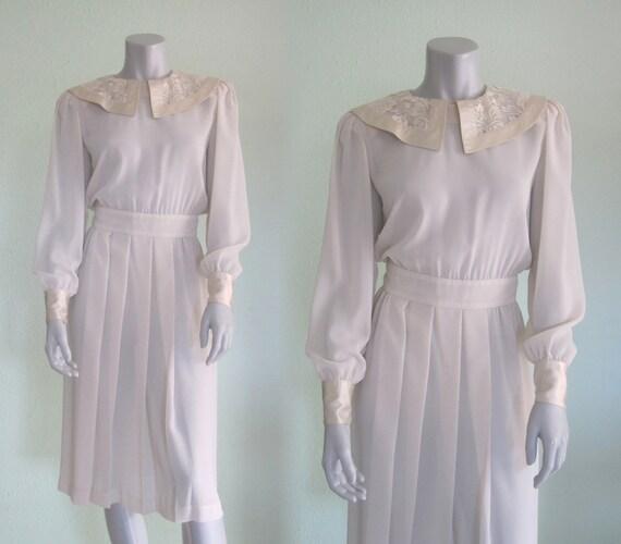 Albert Nipon Dress - Chic 80s Sheer White Dress wi
