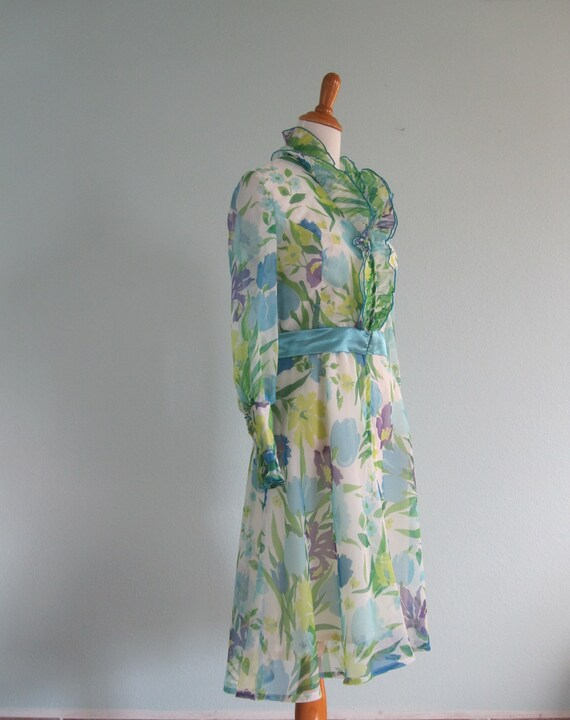 70s Bill Tice Dress - Vintage Ruffled Floral Host… - image 4