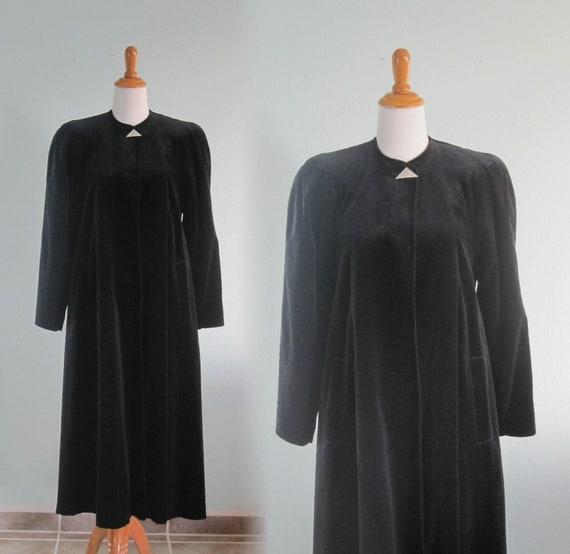 70s Velvet Coat - Black Velvet Swing Coat - Beauti
