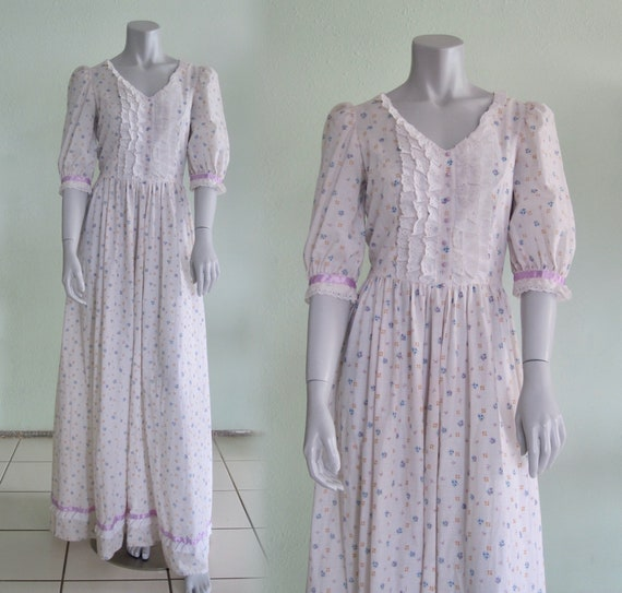 70s Prairie Dress - Vintage Calico Maxi Dress Eyel