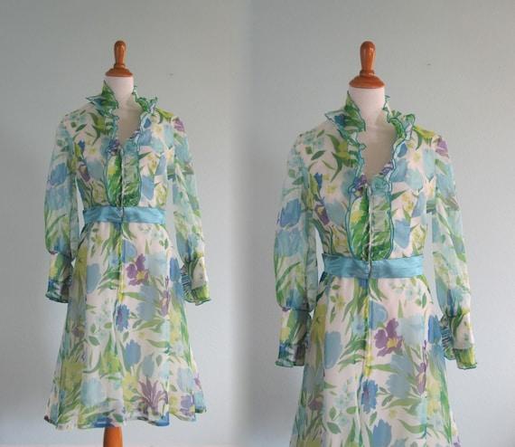 70s Bill Tice Dress - Vintage Ruffled Floral Host… - image 1