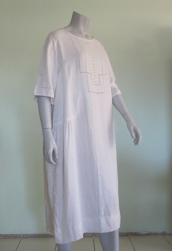 20s Linen Dress - Vintage White Linen Dress - Swe… - image 3