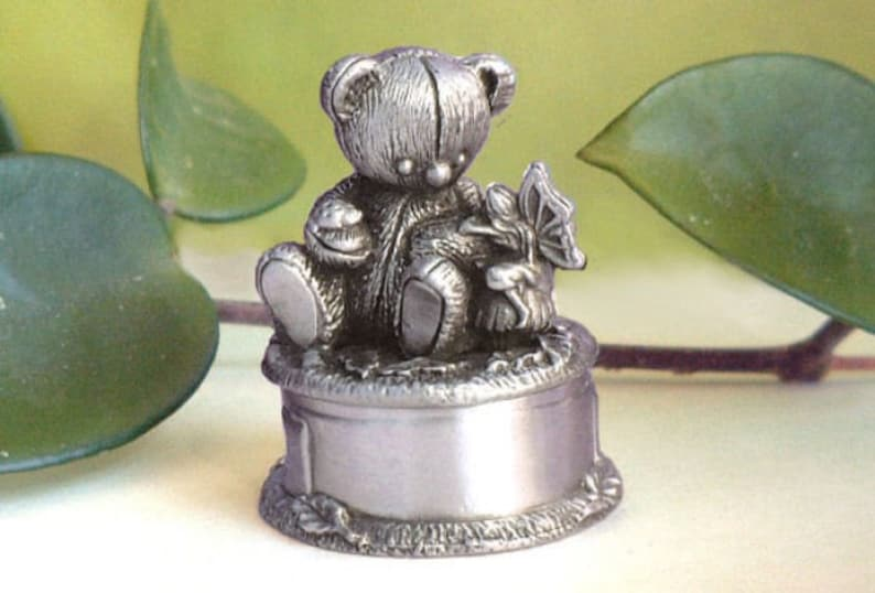 On A Whim Pewter Baby's First Curl Box ...Teddy Bear image 0