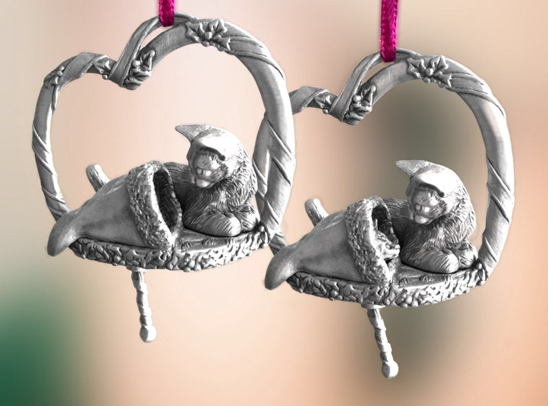 Pewter Cat with stocking Christmas Ornament image 0