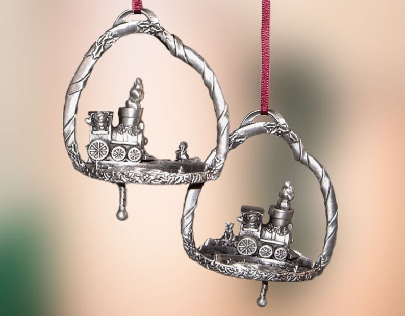 Pewter Holiday Express Train Christmas Ornament image 0
