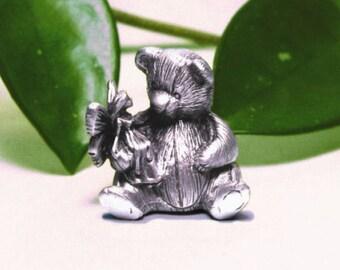 Pewter Teddy Bear Tooth Fairy Box