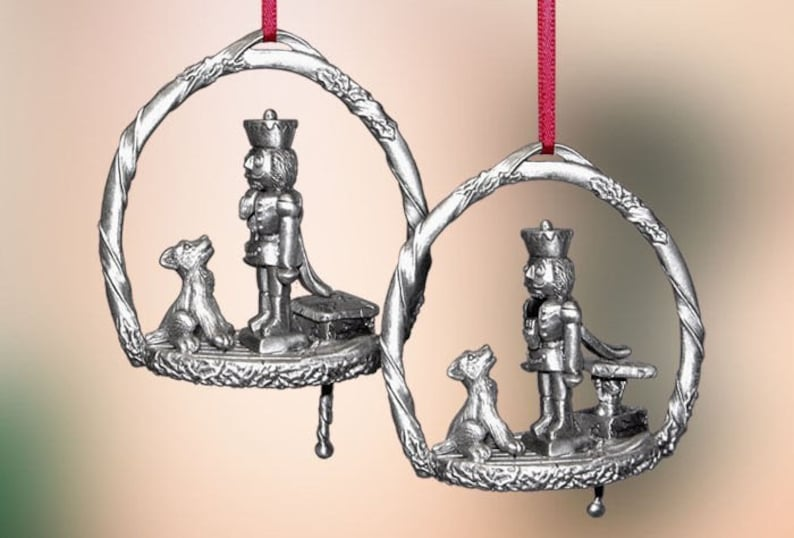 Pewter Nutcracker Christmas Ornament image 0