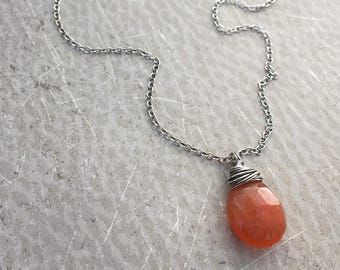 Carnelian Necklace Wire Wrapped Faceted Gemstone with Sterling Silver Orange Carnelian Necklace - Sunkissed by SplendorVendor