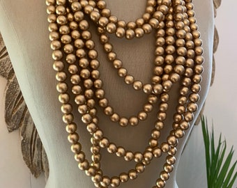 Gold Colored Wooden Bead Necklace - Multi-Strand Layers - Boho Chic Style - Bohemian Muse in Midas Handmade by SplendorVendor
