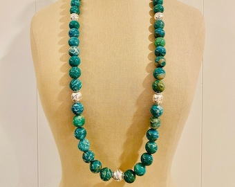 Amazonite Statement Necklace with Large 18mm Beads with Hill Tribe Silver - Fine Silver - OOAK - LAGOON Handmade by SplendorVendor