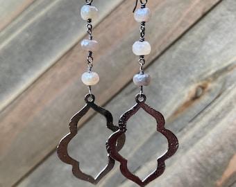 Moonstone Gemstone Dangle Earrings - Sterling Silver Earwires - Feminine Dainty - THE DANCE Moonstone Earrings Handmade by SplendorVendor