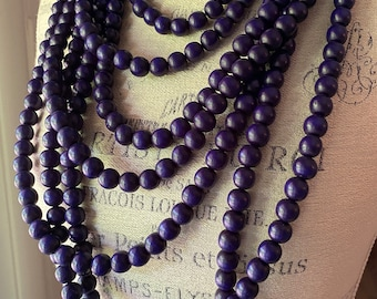 Cobalt Navy Blue Color Wooden Bead Necklace - Multi-Strand Layers - Boho Chic Style - Bohemian Muse in Navy Handmade by SplendorVendor