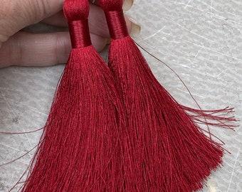Crimson Red Long Tassel Earrings ~ Long Shoulder Dusters ~ Boho Style Jewelry ~ SILK TASSELS in CRIMSON ~ Handmade by SplendorVendor