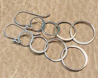 Sterling Silver Cascade of Open Circle Drops - Dangle Earrings - Simple Classic - CASCADE OF CIRCLES Handmade by SplendorVendor