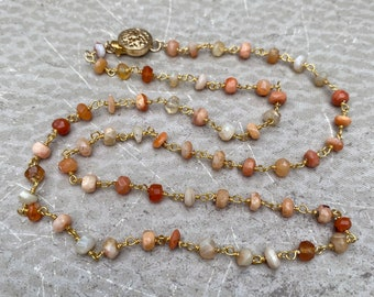 Fire Opal Necklace - Faceted Fire Opal Gemstones Wire-Wrapped with Gold Vermeil - Rosary Style  - FireStarter by SplendorVendor