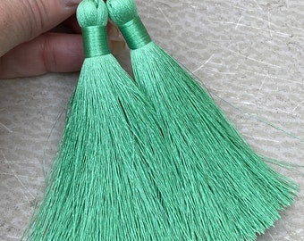 Green Long Tassel Earrings ~ Medium Mint Green ~ Shoulder Dusters ~ Boho Style Jewelry ~ LONG TASSELS in GREEN ~ Handmade by SplendorVendor
