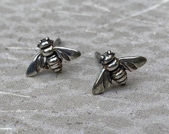 Bee Stud Earrings - Sterling Silver Itty Bitty Bee Earrings - Dainty Stud Honey Bee Earrings - BEE HAPPY Earrings Handmade by SplendorVendor