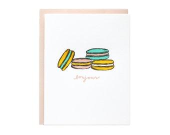 Bonjour Macaroons Letterpress Card. Set of 6