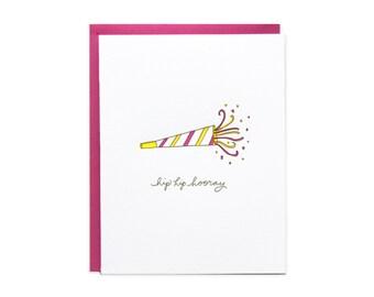 Hip Hip Hooray Letterpress Card