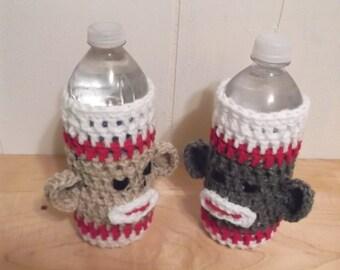 Sock Monkey Water Bottle Cozy - Traditional or Grey