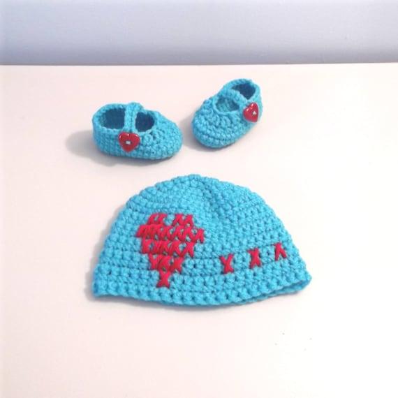 b56b485eba41 Cross Stitch Heart Crochet Baby Hat and Matching Mary Jane