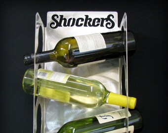 Wichita State Wine Bottle Display 3 Bottle Stainless Steel