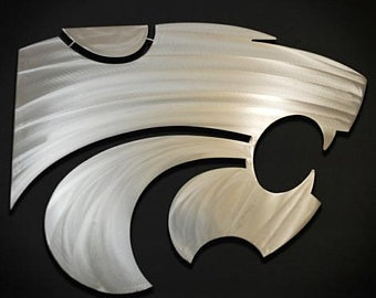 "24"" KSU Powercat Stainless Steel Hand Etched Detail Wall Art"