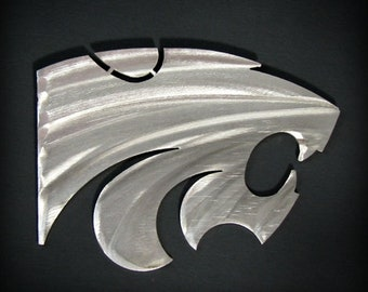 Kansas State Powercat Magnet Stainless Steel 4""