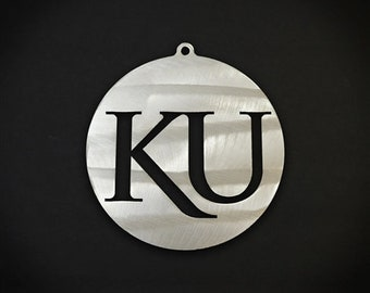 "Kansas University Stainless Steel Christmas Ornament 4"" Round KU"