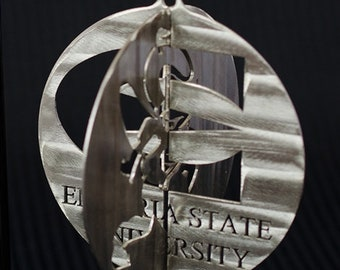 Emporia State Stainless Steel 3D Christmas Ornament Round 4""