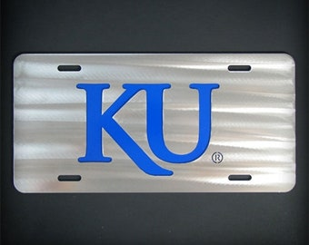 Kansas University Stainless Steel Car Tag License KU