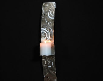 18 inch Stainless Steel Candle Sconce with hand etched detail.