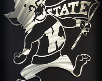 Kansas State Willie the Wildcat Single Layer Art Piece 18""