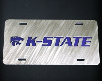 Layered Stainless Steel Metal Kansas State License Plate KSU K-State Car Tag