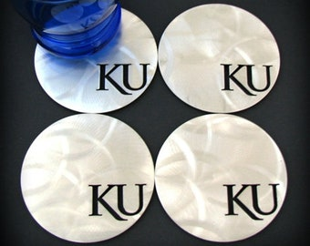 Kansas University Stainless Steel Coasters (set of 4 KU)