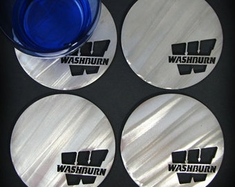Washburn University Round Coasters (set of 4) Stainless Steel