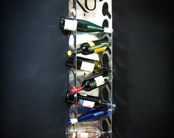 The University of Kansas KU Stainless Steel Wine Bottle Display 8 Bottle