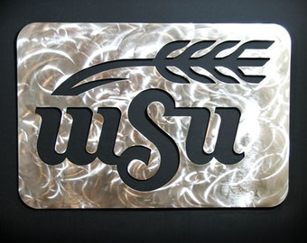 "18"" Stainless Steel Metal WSU Wall Art Wichita State University College WUShock Kansas Metal Art"