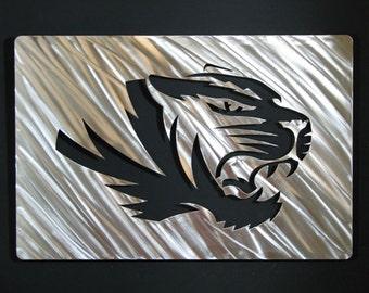 "18"" Stainless Steel Mizzou Wall Art Missouri Tigers Fan Cave Metal Wall Art"
