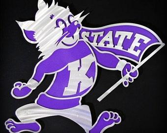 """Kansas State Willie the Wildcat Art Piece 18"""""""